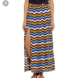 NEW Michael Kors XS Chevron Pleated Maxi Skirt